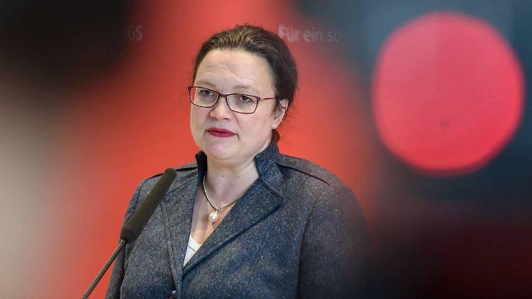 Andrea Nahles während einer Pressekonferenz im Februar 2019 in Berlin