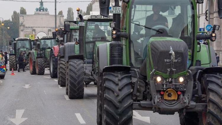 Traktoren fahren hintereinander zu einer Demonstration. Foto: Peter Kneffel/dpa