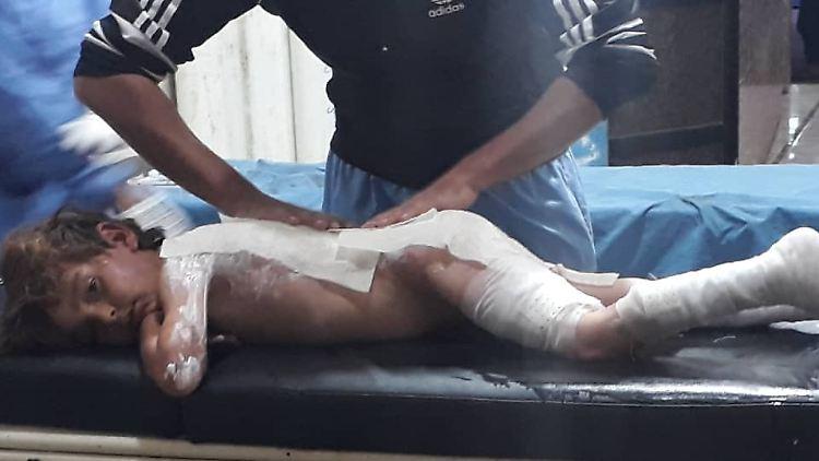 Ein verletztes Kind aus Ras Al Ain.