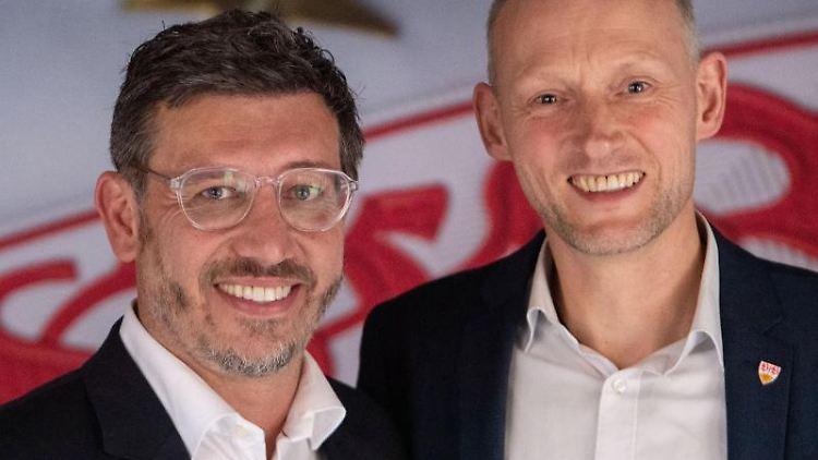 Christian Riethmüller (r) und Claus Vogt nehmen an einer Pressekonferenz teil. Foto: Marijan Murat/dpa/Archivbild