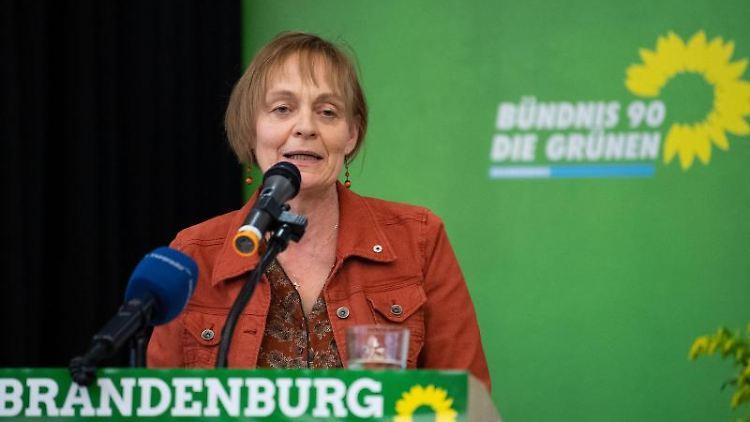 Petra Budke (Bündnis 90/Die Grünen) spricht auf dem Parteitag Brandenburg ihrer Partei. Foto: Monika Skolimowska/dpa-Zentralbild/dpa