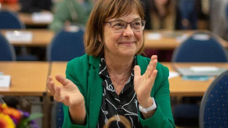 Ursula Nonnemacher, Fraktionsvorsitzende von Bündnis 90/Die Grünen in Brandenburg, auf dem Parteitag. Foto: Monika Skolimowska/dpa-Zentralbild/dpa