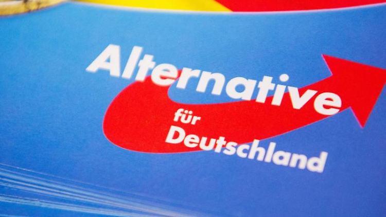 Das Logo der AfD auf einem Flyer. Foto: Christophe Gateau/dpa/Archivbild