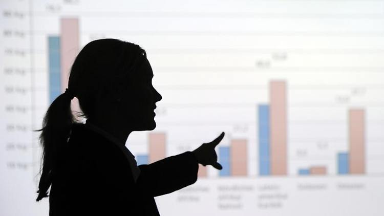 Eine Frau steht in einem Büro und erklärt eine an die Wand projizierte Statistik. Foto: Tobias Kleinschmidt/dpa/Archivbild