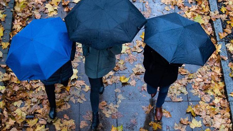 Personen laufen mit Regenschirmen auf einem Gehweg. Am Boden liegen herbstlich verfärbte Blätter. Foto: Tom Weller/dpa