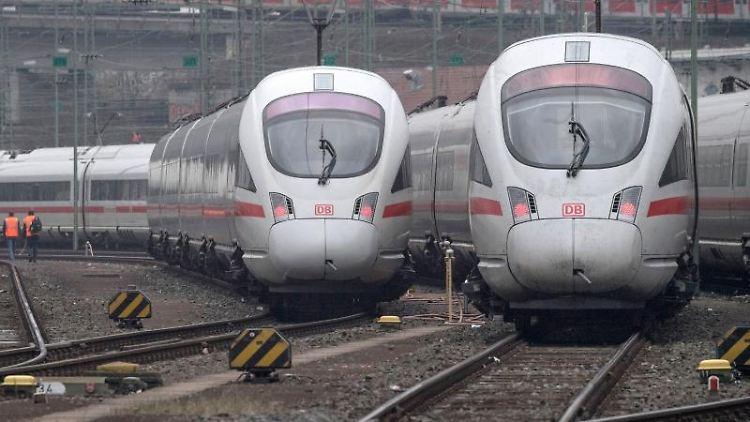 ICE-Züge der Bahn stehen auf Gleisen. Foto: Boris Roessler/dpa/Archiv