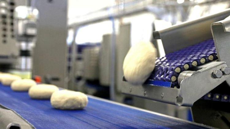 In einer Produktionshalle einer Bäckerei liegen Teiglinge auf einem Band. Foto: Ferdinand Merzbach/dpa/Archivbild