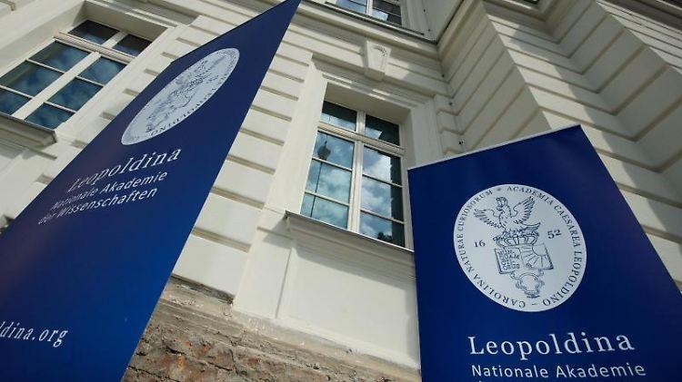 Das Logo und der Schriftzug der Nationalen Akademie der Wissenschaften Leopoldina hängen an einem Banner vor dem Gebäude. Foto: Peter Endig/dpa-Zentralbild/Archivbild/dpa