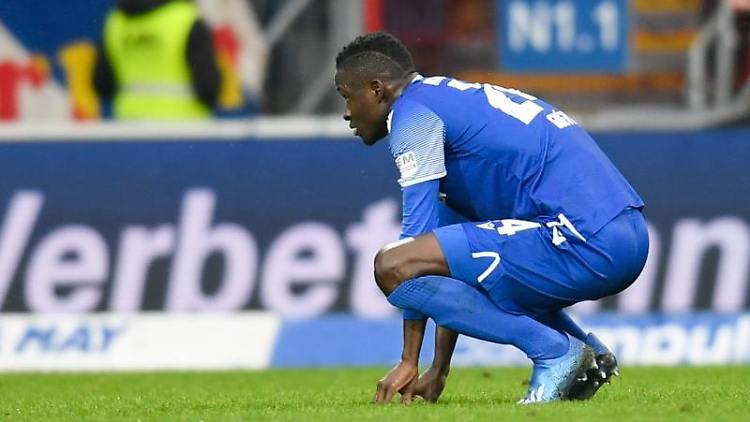 Karlsruhes Gueye Babacar reagiert im Spiel. Foto: Tom Weller/dpa/Archivbild