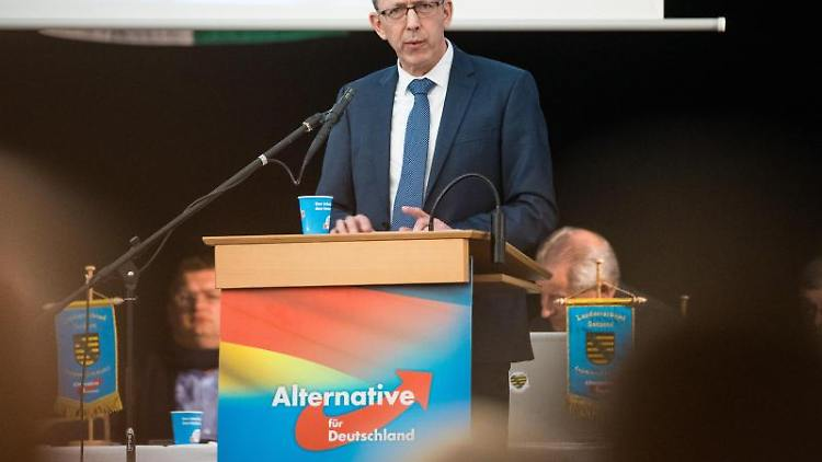 Jörg Urban, Parteichef der AfD in Sachsen, spricht auf dem Landesparteitag. Foto: Oliver Killig/dpa-Zentralbild/dpa