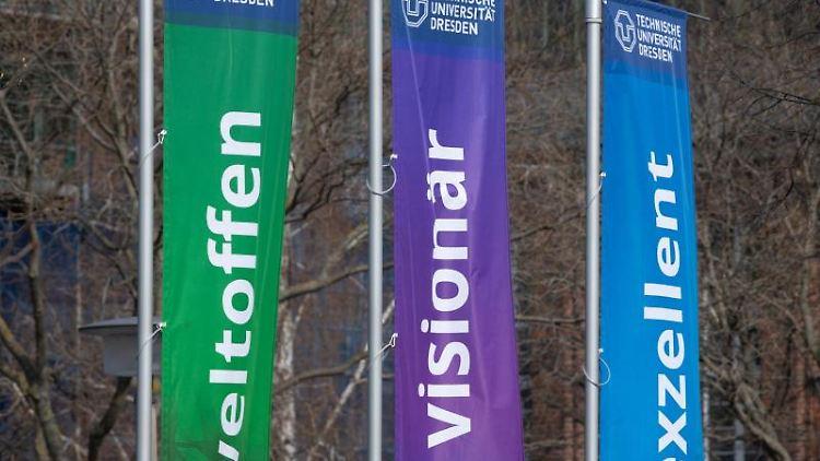 Drei Flaggen der Technischen Universität Dresden wehen auf dem Campus im Wind. Foto: Sebastian Kahnert/dpa-Zentralbild/dpa