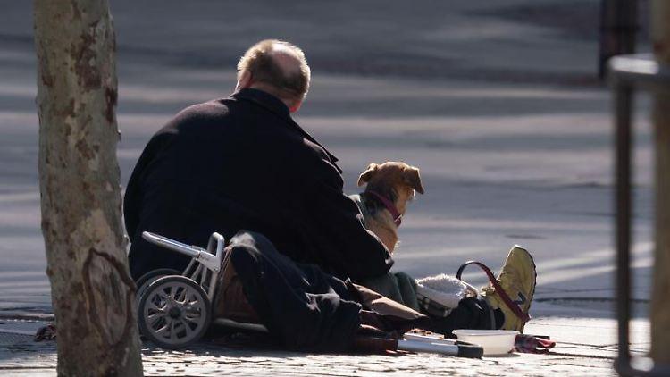 Ein Mann sitzt mit seinem Hund auf der Zeil und wartet auf Gaben von Passanten. Foto: Frank Rumpenhorst/dpa
