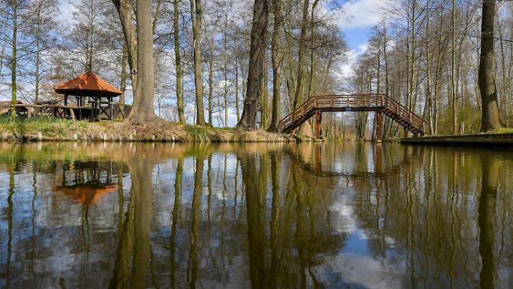 Im sonnigen Frühlingswetter spiegelt sich die Spreewaldlandschaft. Foto: Patrick Pleul/dpa-Zentralbild/ZB/Symbolbild