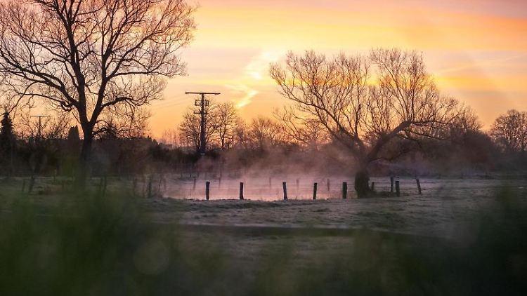 Nebel steigt aus einem Teich auf, während der Sonnenaufgang beginnt den Himmel zu färben. Foto: Jonas Walzberg/dpa