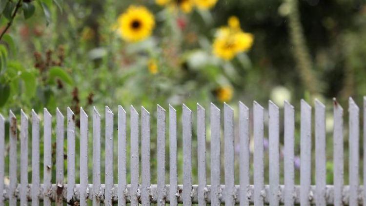 Ein Gartenzaun in einer Kleingartenanlage. Foto: Bernd Wüstneck/dpa-Zentralbild/dpa/Archivbild