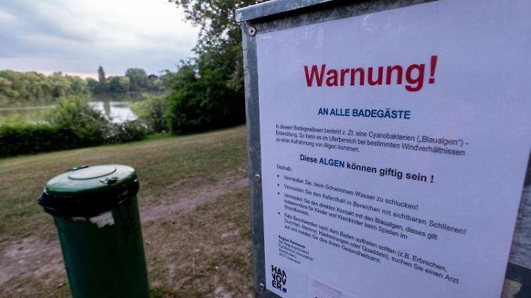 Ein Schild warnt Badegäste vor Blaualgen. Foto: Peter Steffen/dpa
