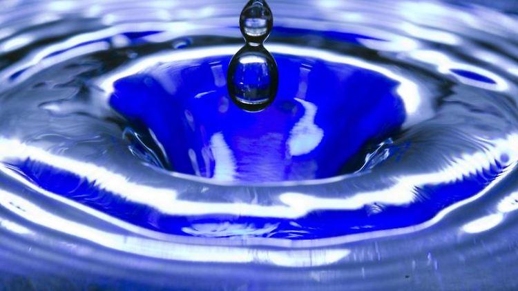 Ein Wassertropfen fällt in eine blaue Wasserschüssel. Foto: Jens Büttner/zb/dpa/Archivbild
