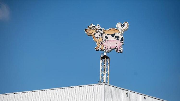 Auf dem Dach des Werksgeländes steht das Logo der Firma Tönnies in Form von zwei Kühen und einem Schwein. Foto: Guido Kirchner/dpa/Archivbild