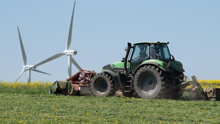 Ein Landwirt fährt vor einer Windkraftanlage mit einem Traktor über ein Rapsfeld. Foto: Sebastian Kahnert/dpa-Zentralbild/dpa/Symbolbild
