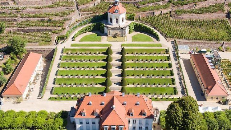 Blick auf die Weinberge und den Barockgarten von Schloss Wackerbarth. Foto: Jan Woitas/zb/dpa/Archivbild