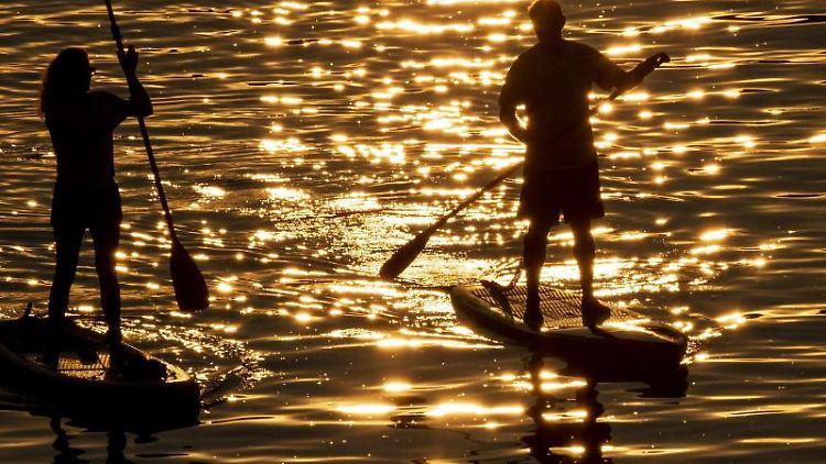 Zwei Stand-Up-Paddler fahren bei Sonnenuntergang auf dem Main. Foto: Boris Roessler/dpa/Archivbild