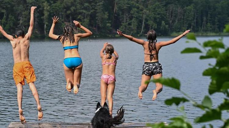 Vier Kinder springen von einem Steg in das Wasser des Trepliner Sees. Foto: Patrick Pleul/dpa-Zentralbild/ZB