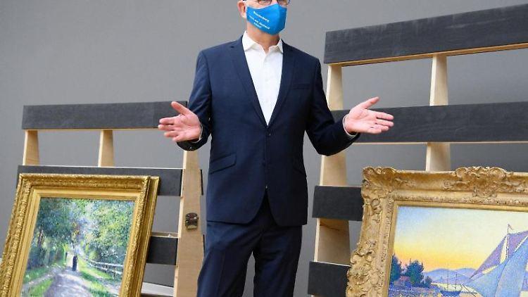 Ministerpräsident Dietmar Woidke besucht bei seiner Pressetour das Museum Barberini. Foto: Soeren Stache/dpa-Zentralbild/ZB