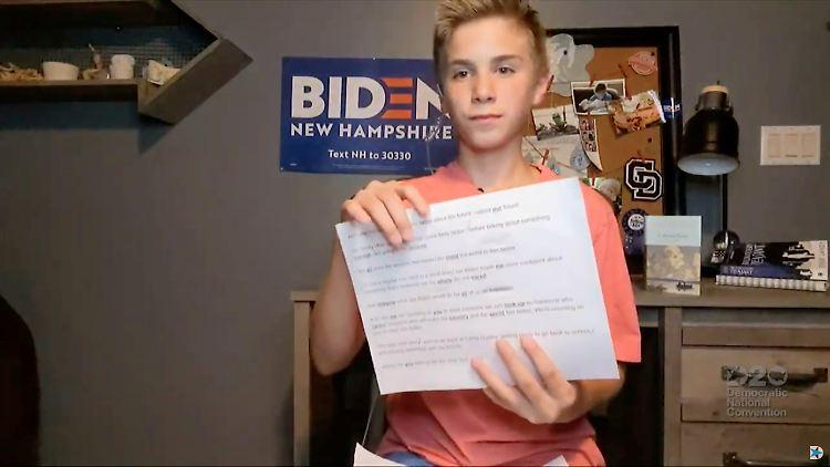 13-jähriger Brayden Harrington beim Parteitag der US-Demokraten