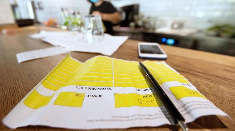 Auf der Theke in einer Pizzeria liegt ein Zettel zur Besucherregistrierung. Foto: Marijan Murat/dpa/Archivbild