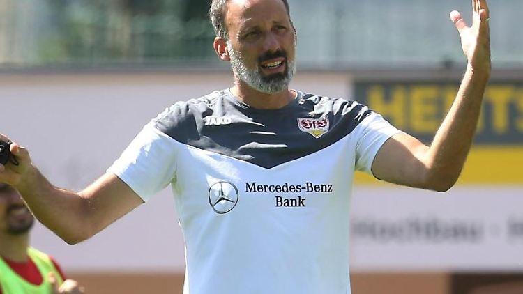 Trainer Pellegrino Matarazzo gestikuliert während des Trainings seiner Mannschaft. Foto: Karl-Josef Hildenbrand/dpa/Archivbild