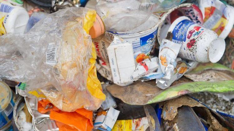 Müll aus dem'Meer liegt gesammelt auf einem Haufen. Foto: Stefan Sauer/dpa-Zentralbild/dpa/Archiv