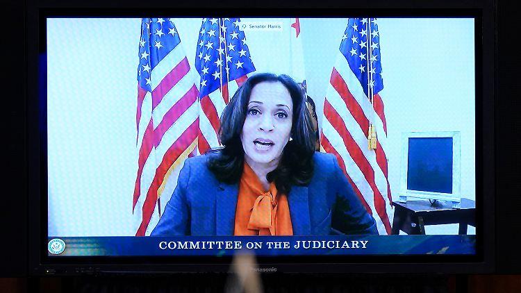 Bei der Anhörung der Kandidatin Amy Coney Barrett für den Supreme Court war die Demokratin Harris bereits lediglich per Videoschalte dabei.