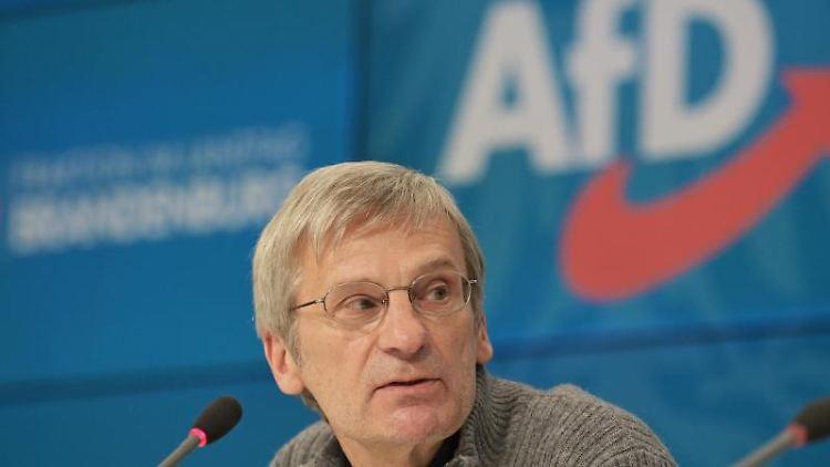 Hans-Christoph Berndt, Vorsitzender der Brandenburger AfD, spricht während einer Pressekonferenz. Foto: Soeren Stache/dpa-Zentralbild/dpa