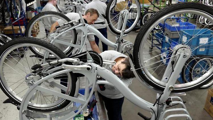 Mitarbeiter des Fahrradherstellers Sachsenring Bike Manufaktur GmbH montieren Fahrräder. Foto: Peter Endig/dpa/Archivbild