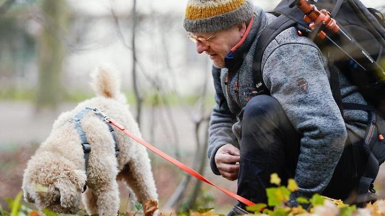 Trüffelhund Snoopy und Peter Karasch im Schlossgarten am Schwetzinger Schloss. Foto: Uwe Anspach/dpa