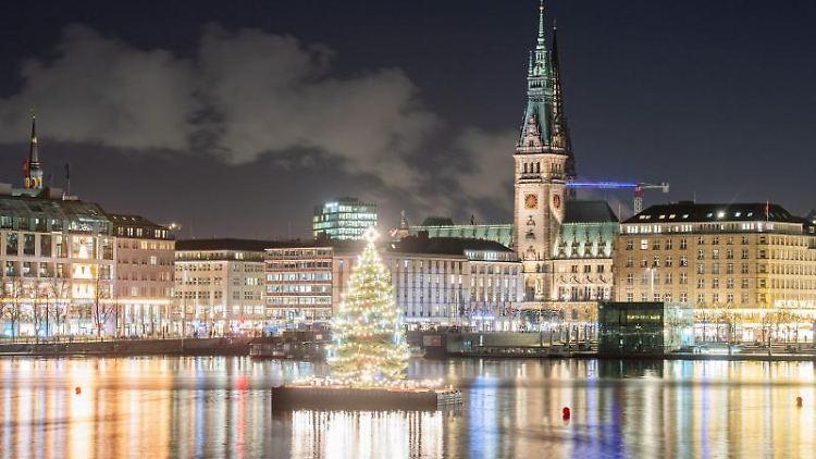 Die Alstertanne leuchtet auf der Binnenalster, im Hintergrund ist das Rathaus zu sehen. Foto: Daniel Reinhardt/dpa