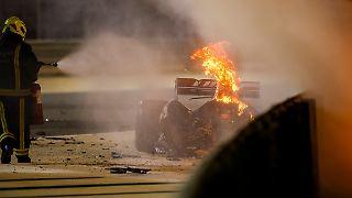 Die Reste eines Formel-1-Autos.