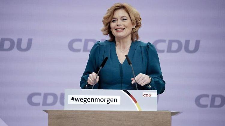 Landwirtschaftsministerin Julia Klöckner beim digitalen Bundesparteitag der CDU. Foto: Michael Kappeler/dpa