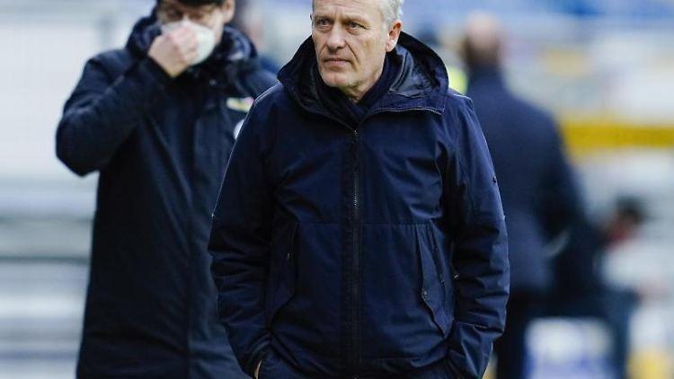 Freiburgs Trainer Christian Streich. Foto: Uwe Anspach/dpa