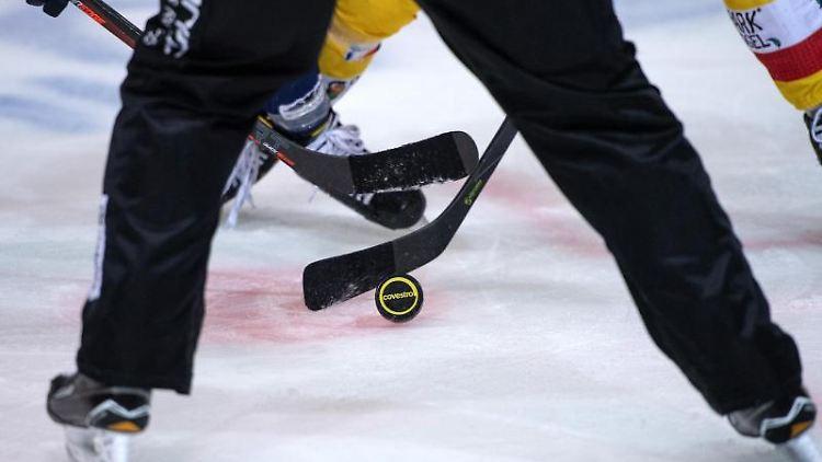 Ein Eishockey-Spiel. Foto: Bernd Thissen/dpa/Symbolbild
