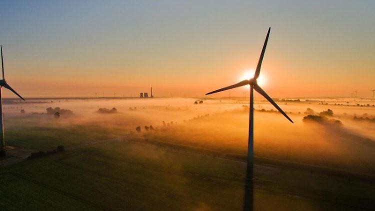 Die aufgehende Sonne taucht über Feldern und Windrädern den Nebel in warmes Licht. Foto: Julian Stratenschulte/dpa/Archivbild