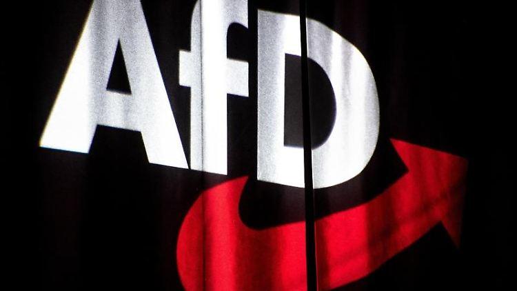 Das Logo der AfD wird auf einen Vorhang projeziert. Foto: Sina Schuldt/dpa/Archivbild