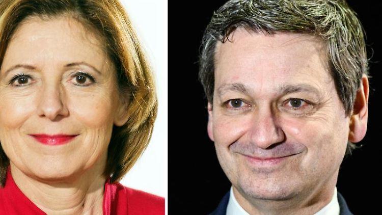 Malu Dreyer (SPD), Ministerpräsidentin von Rheinland-Pfalz, und CDU-Spitzenkandidat, Christian Baldauf. Foto: Andreas Arnold/dpa