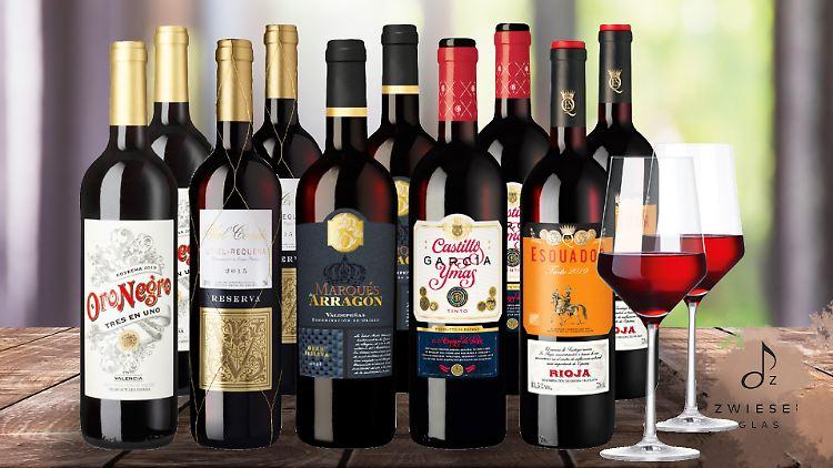 Diese fünf spanischen Rotweine sind im Exklusiv-Paket enthalten..jpg