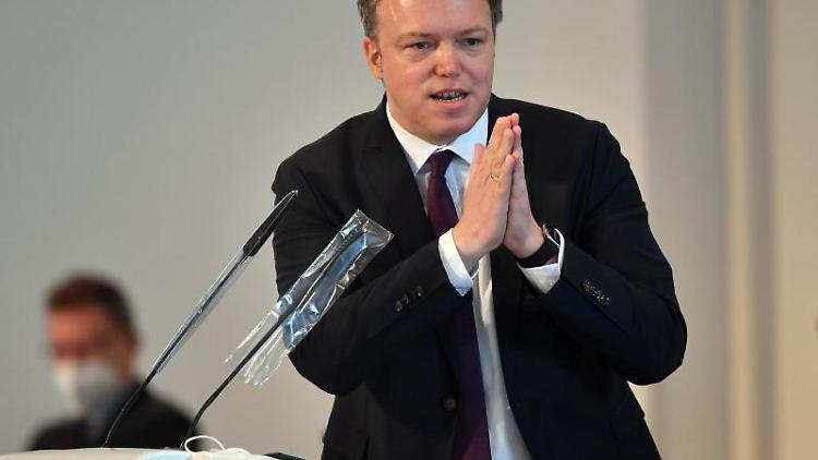 Mario Voigt, CDU-Fraktionschef im Thüringer Landtag, spricht im Landtag. Foto: Martin Schutt/dpa-Zentralbild/dpa