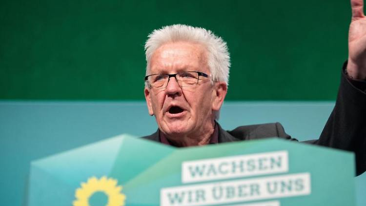 Baden-Württembergs Ministerpräsident Kretschmann (Grüne) bei der Landesdelegiertenkonferenz. Foto: Marijan Murat/dpa