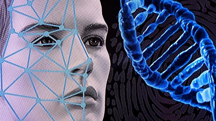 Eine Computergrafik zum Thema Gesichtserkennung auf einem Monitor am bayerischen Landeskriminalamt. Foto: Sven Hoppe/dpa/Symbolbild