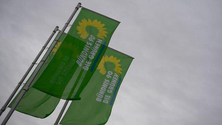 Flaggen mit dem Logo von Bündnis 90/Die Grünen wehen. Foto: Marijan Murat/dpa/Archivbild