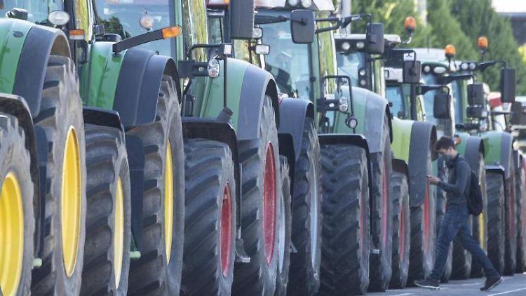 Landwirte demonstrieren mit ihren Traktoren. Foto: Boris Roessler/dpa/Symbolbild