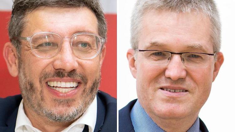 Die beiden Kandidaten Claus Vogt (l) und Pierre-Enric Steiger. Foto: Tom Weller/Christoph Schmidt/dpa/Archivbild